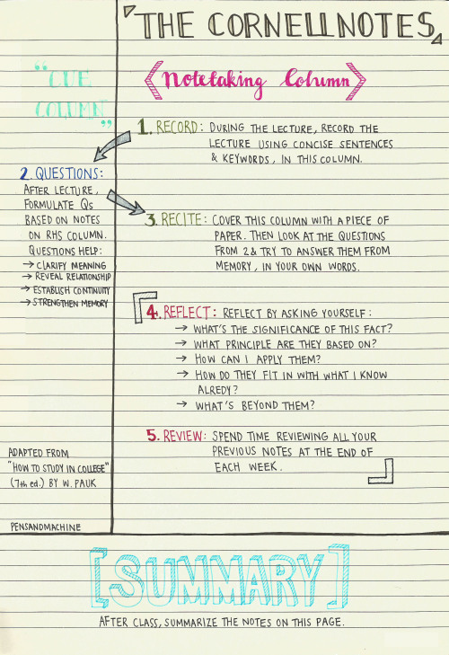 cornell note taking Tumblr - Sample Cornell Note