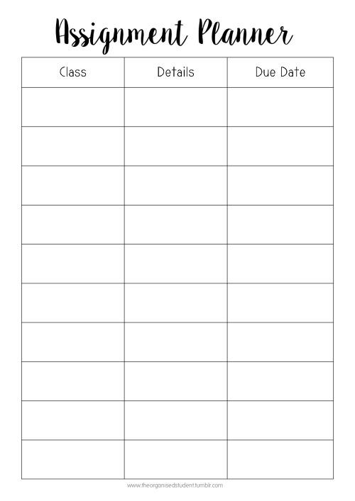 Free Printables! - The Organised Student - cute weekly homework planner template
