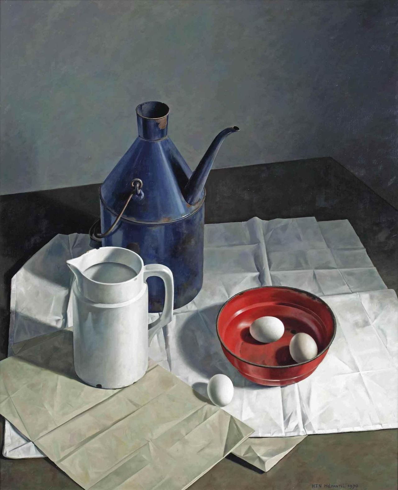 Helmantel Museum Henk Helmantel A Still Life With Eggs A Jug And A Milk Churn On