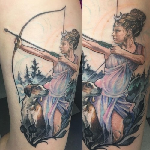 Can't wait to finish her, #huntress #cuntress #greekmythology #romanmythology #tattoo #pinuptattoo #workinprogress #dogtattoo #bowandarrow #arrowtattoo (at Broad Street Tattoo Parlour)