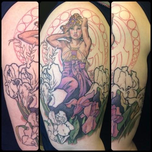 Can't wait to finish this one #alphonsemucha #tattoo #tattoos #matattoo #masstattoonetwork #mpiretattoomachine #fusionink #eternalink #broadstreettattoo @broadstreettattoo