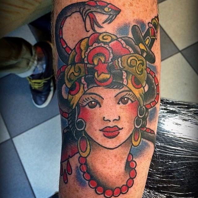 On the man, JH.@broadstreettattoo Thanks for looking#tattoo #traditionaltattoo #sailorjerry #boldwillhold #tbt