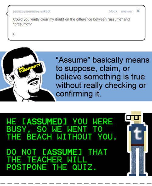 The YUNiversity - What\u0027s Up With Assume and Presume? - Presume Or Assume