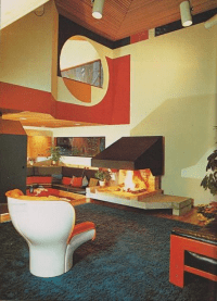 Super Seventies  1970s interior design - living room.