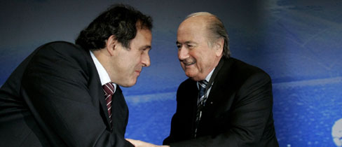 Blatter and Platini congratulate each other
