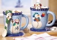 Snowman Holiday Mug and Spoon Gift Set   Christmas