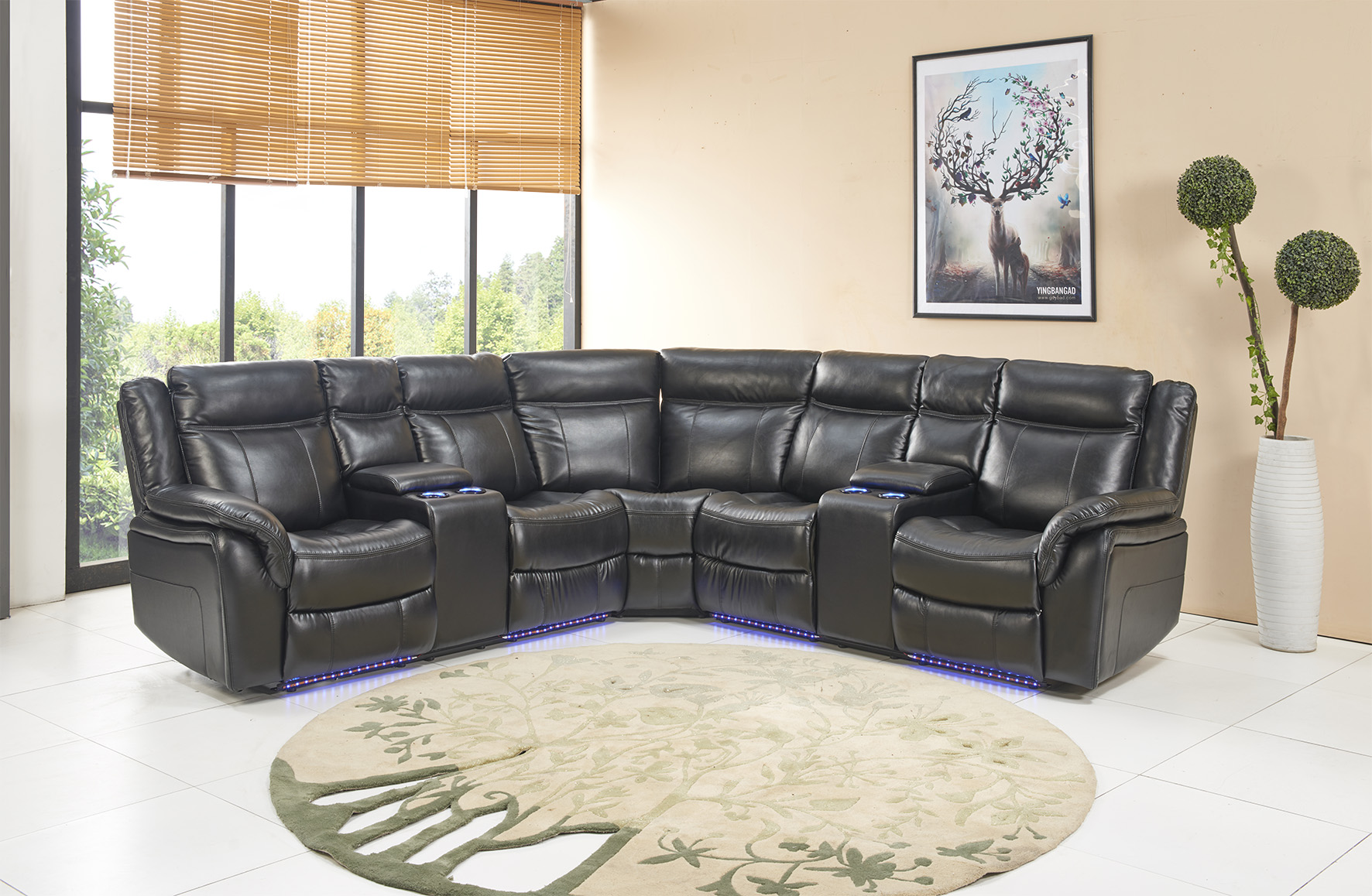 Black 3 Piece Power Reclining Sectional With Led Accent Lighting