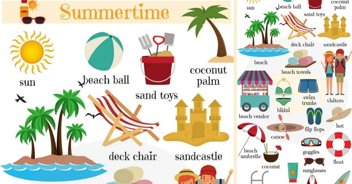Summer Vocabulary In English Words For Summer 7 E S L