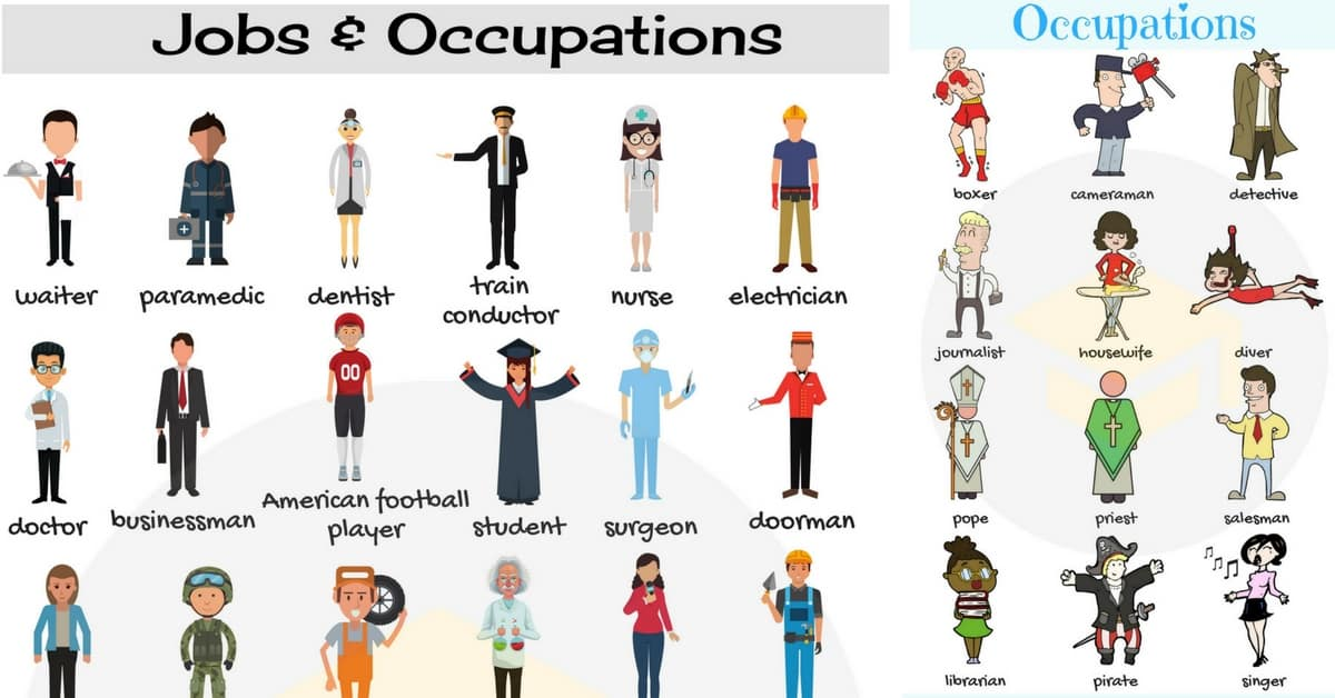 Jobs and Occupations Vocabulary List of Jobs in English - 7 E S L