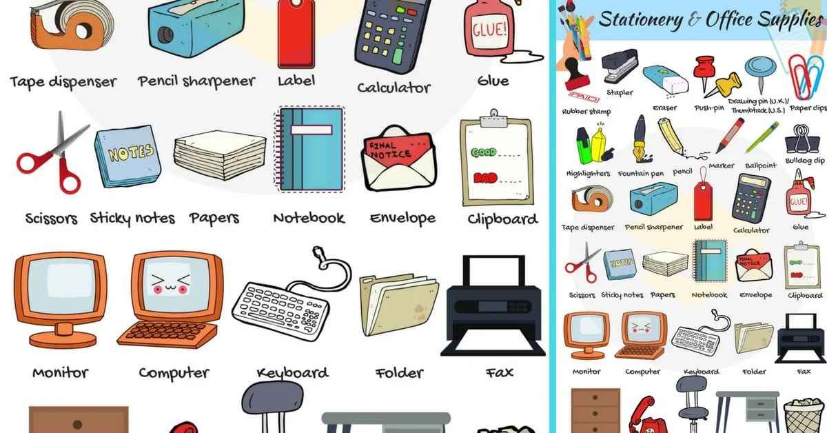 Stationery and Office Supplies Vocabulary in English - 7 E S L