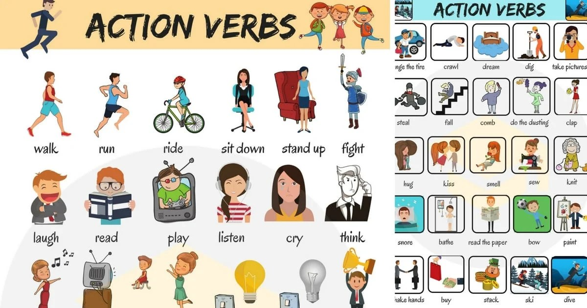 50 Common Action Verbs in English Vocabulary - 7 E S L - action verbs