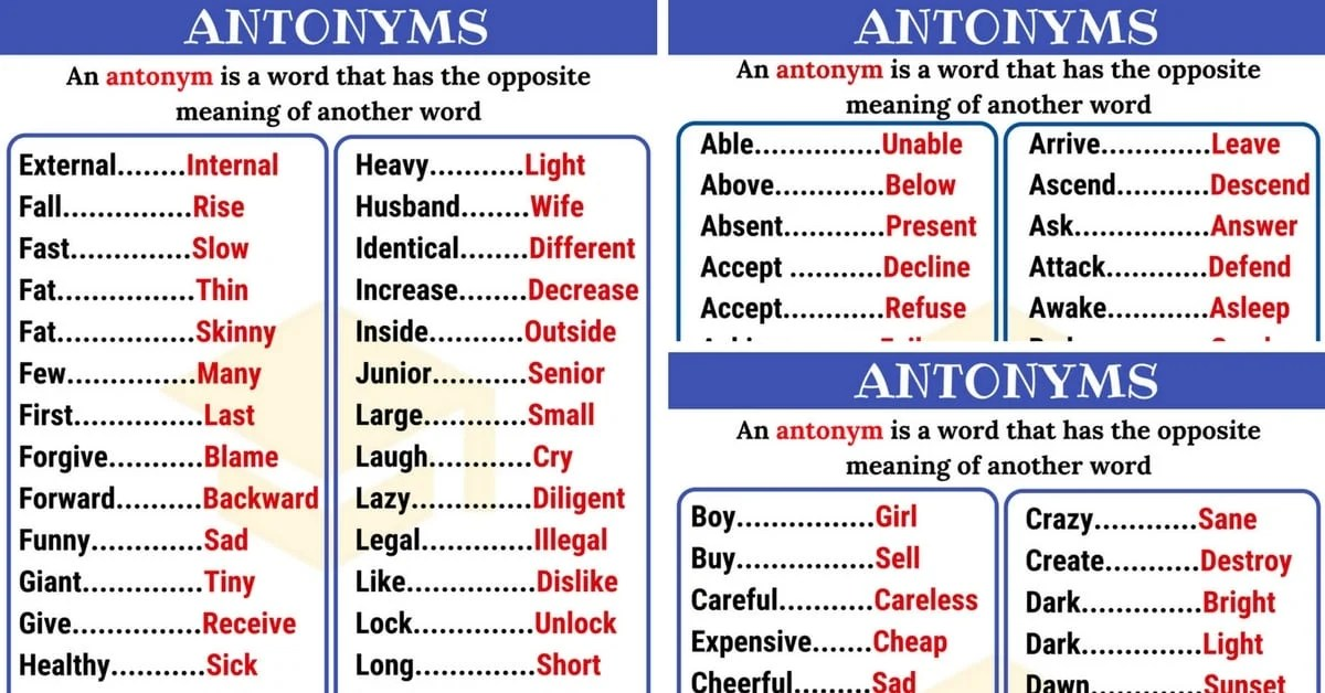 Opposites 300+ Antonyms List from A-Z with Examples - 7 E S L