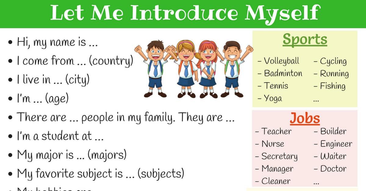 How To Introduce Yourself In English Self Introduction