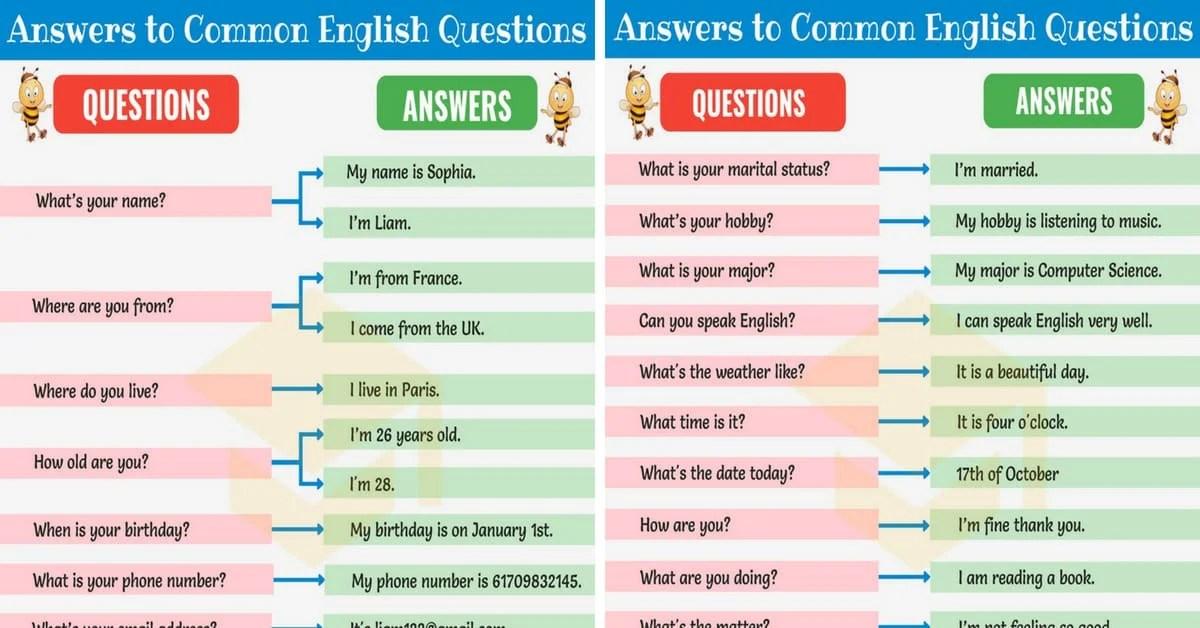 200+ Answers to Common English Questions - 7 E S L