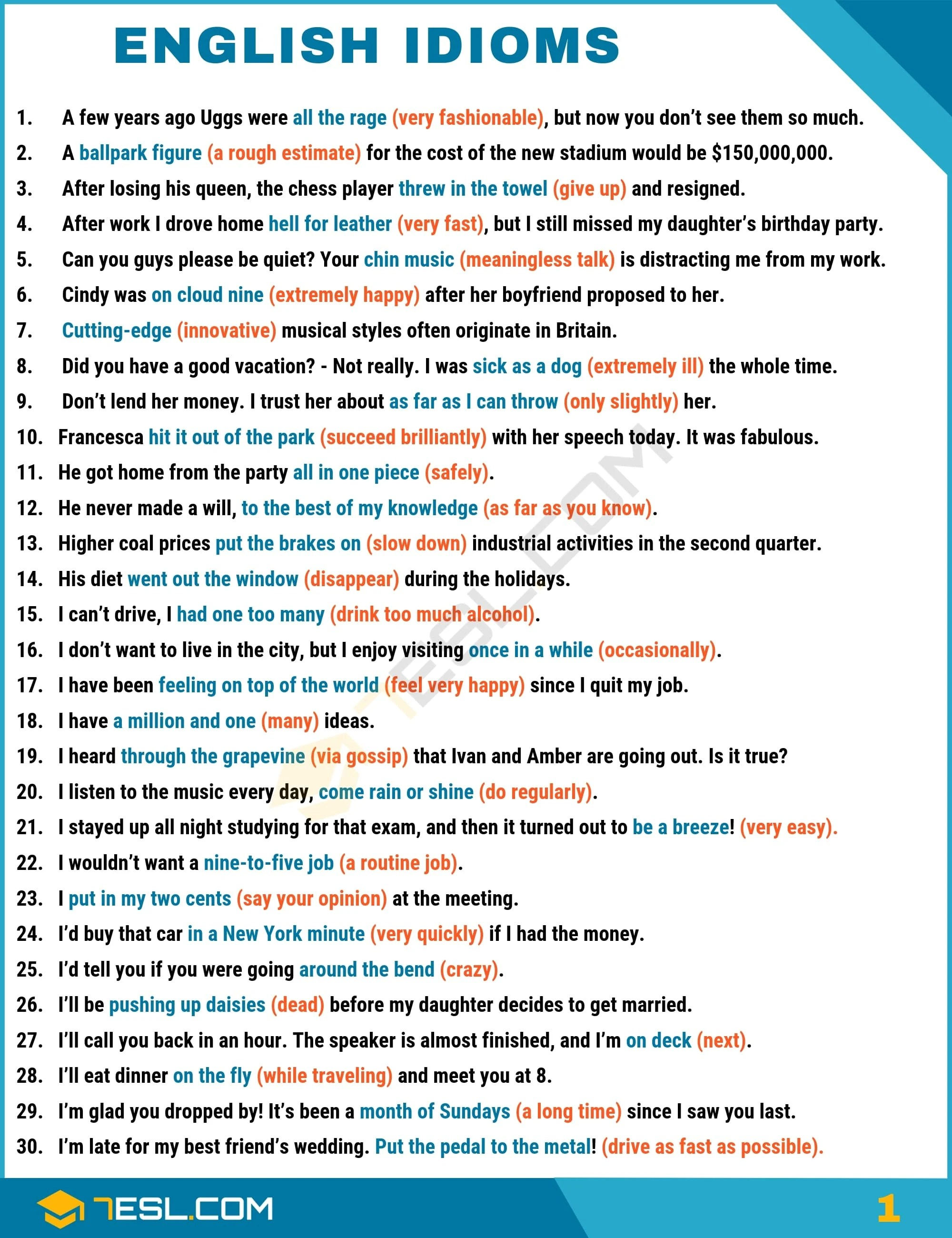 Carte Blanche Synonym Idiom 1500 English Idioms From A Z With Examples 7 E S L