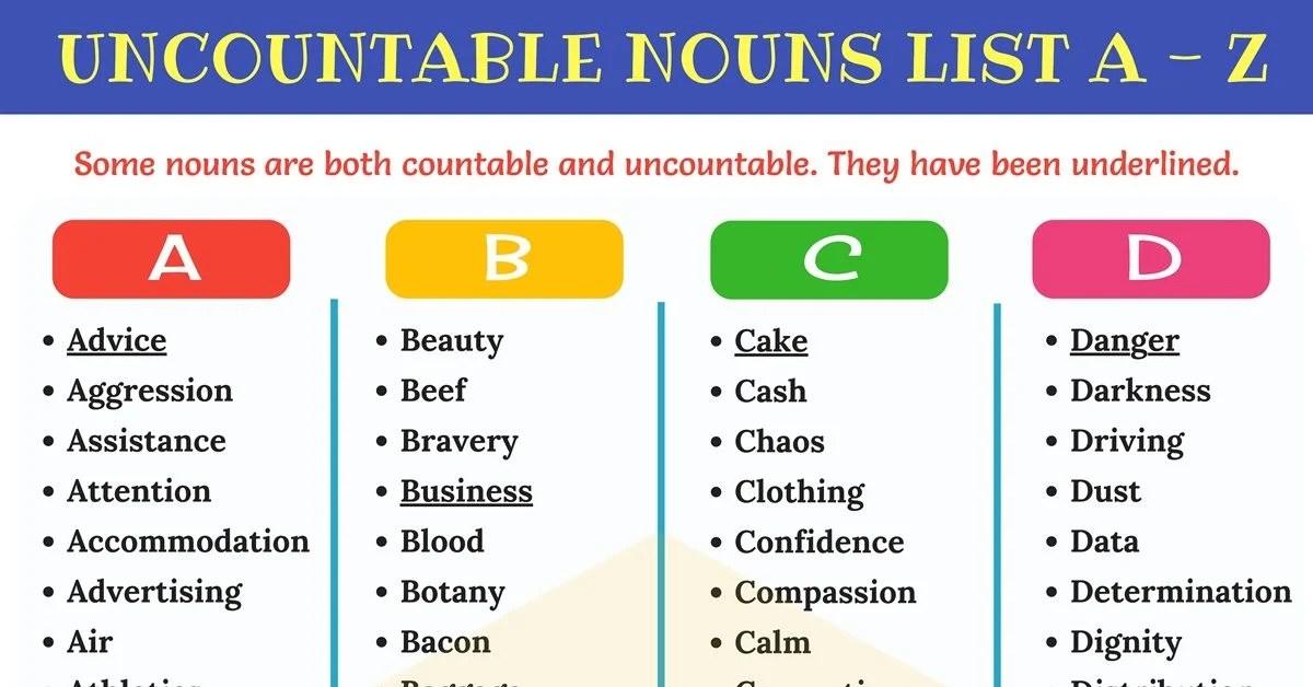Uncountable Nouns List of 450 Useful Uncountable Nouns - 7 E S L