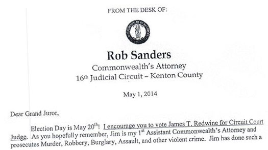 In Judge\u0027s Race, Kentucky Prosecutor Turns to Grand Jury Kentucky - what are candidate endorsement letters