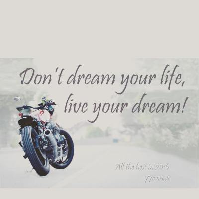 Don't just #dream, live your #life! All the best in #2016!  #77 #77c #7sevencustoms #custom #motorcycles #motorcyclesofinstagram #caferacer #caferacersofinstagram