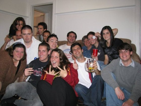 Couchsurfing party on a much more hopeful election night in 2008.