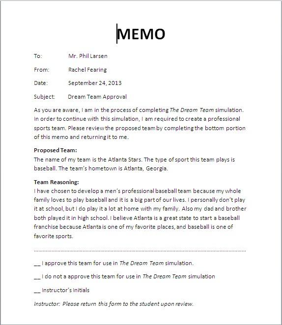 Instructor Memo - Rachel\u0027 Site