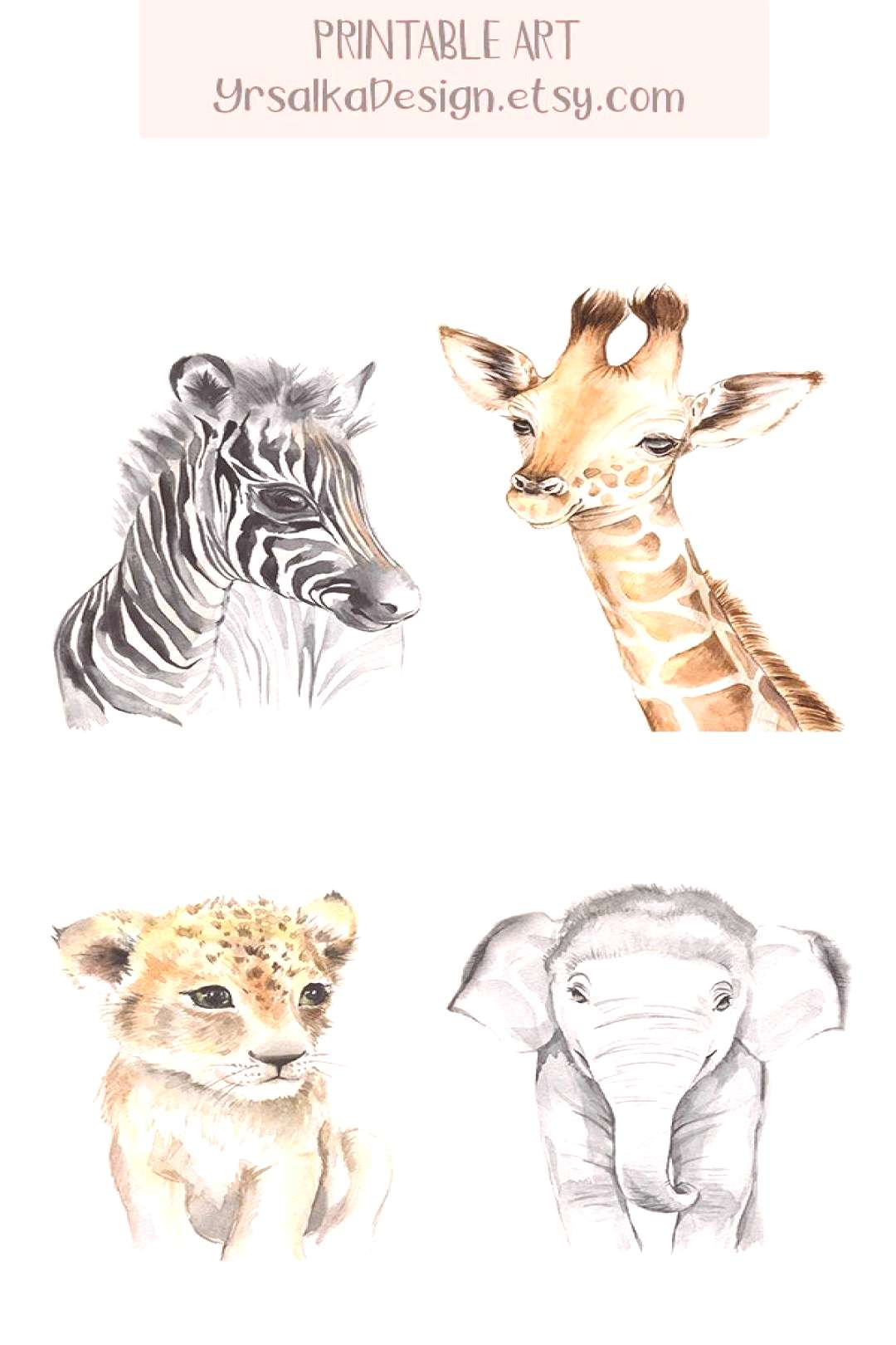 Baby Tier Kinderzimmer Wand Kunst Safari Animal Prints Druckbare Aquarell Tier Kunstdrucke Malerei