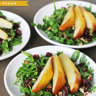 Roasted Pear & Arugula Salad (vegan, gf)  86lemons.com