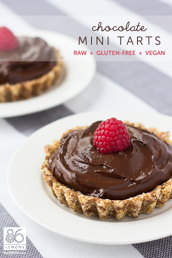Mini Chocolate Tarts #raw #vegan #glutenfree #gfcommunity #foodphotography  86lemons.com