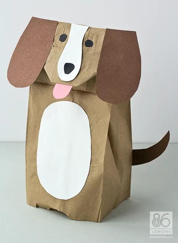 Paper Bag Animal Puppets Tutorial  86lemons.com