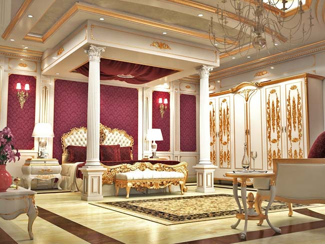 Luxury master bedroom design in classic style