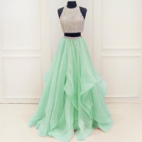 Stunning Sequins Beaded Top Organza Ruffles Two Piece Prom ...