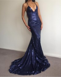 Charming Prom Dress,Navy Blue Prom Dress,Sexy Sequin Prom ...