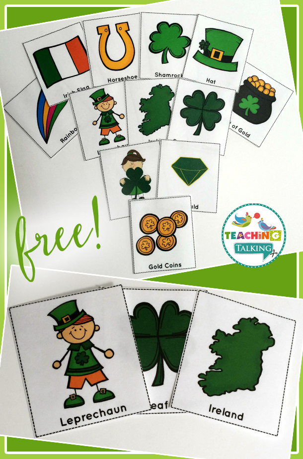 St Patrick\u0027s Day Vocabulary Cards Freebie - Teaching Talking - vocab cards