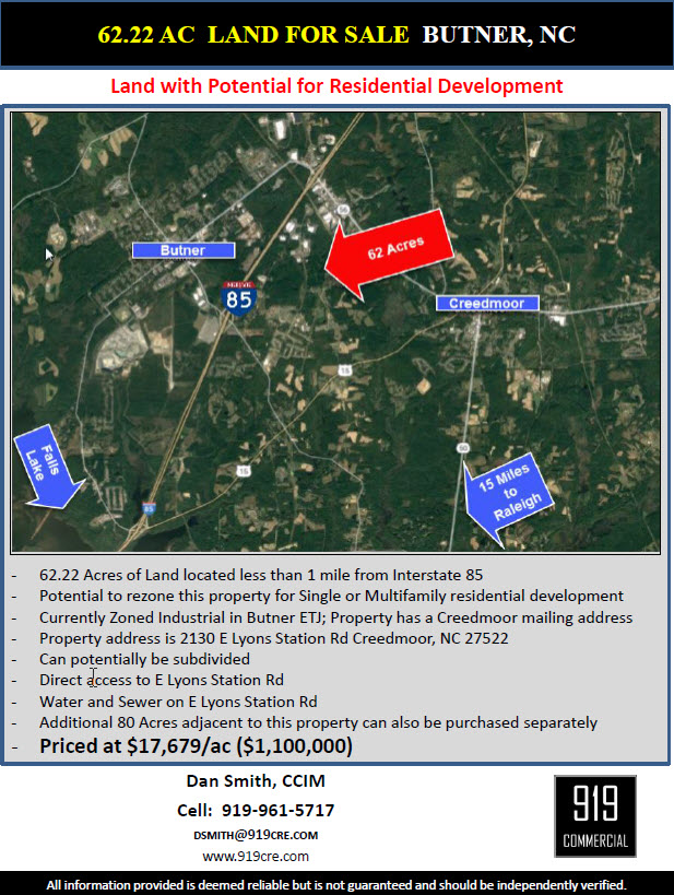 Raleigh Durham Commercial Real Estate For Sale - land for sale flyer