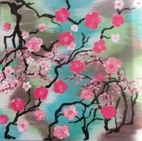 "Cherry Blossom Abstract 12""x12"" Acrylic Home Decor Wall ..."