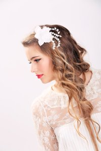 White Bridal Flower Clip, Wedding Hair Accessories