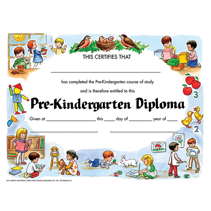 PRE-KINDERGARTEN DIPLOMA 30/PK Certificates - H-VA200CL