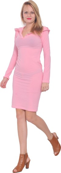 WOMENS BODYCON CASUAL COTTON LONG SLEEVE MINI FITTED DRESS ...