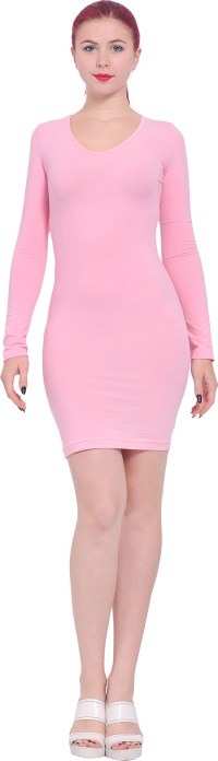 WOMENS LONG SLEEVE BODYCON DRESS CASUAL MINI SHORT DRESS ...