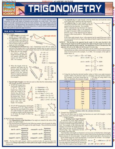 trigonometry study guides