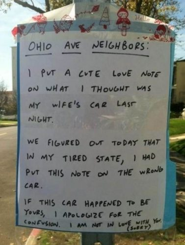Husband leaves love letter on the wrong car - 98five  98five - Love Letter To Husband