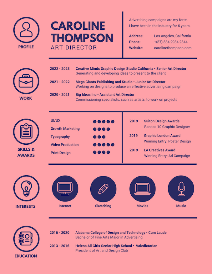 graphic design resume action words