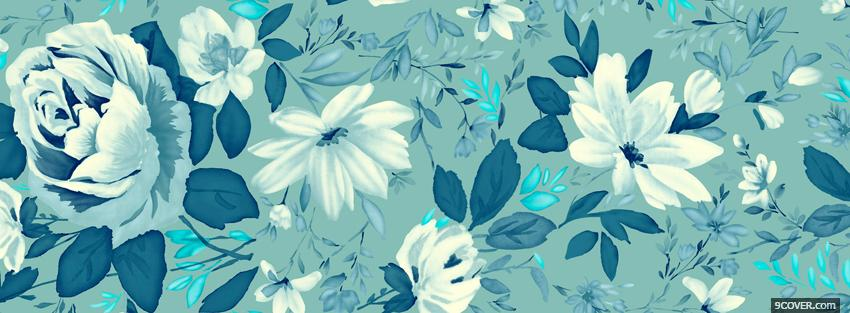 blue and white flowers Photo Facebook Cover