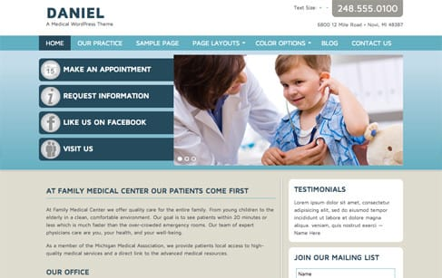 Daniel Medical WordPress Theme WordPress Doctor Theme
