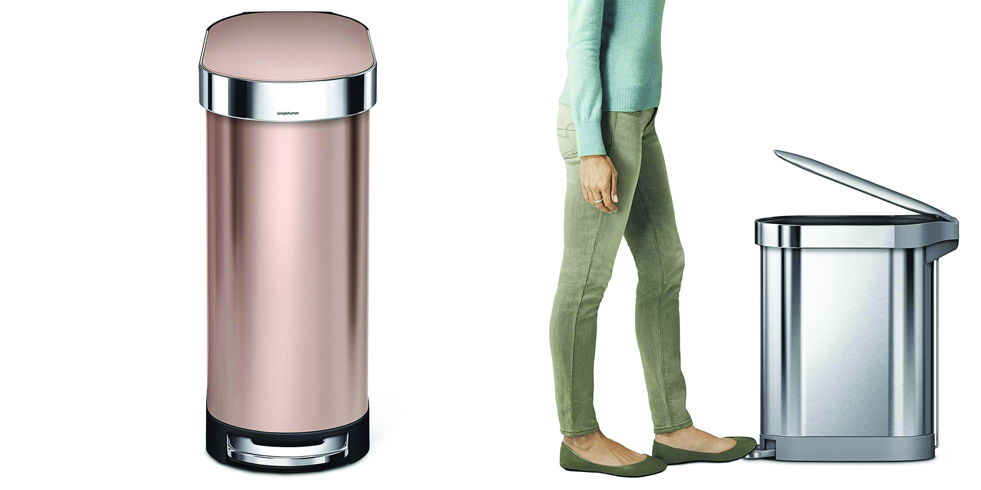 Rose Gold Trash Can The Simplehuman 45l Slim Step Trash Can Is On Sale From