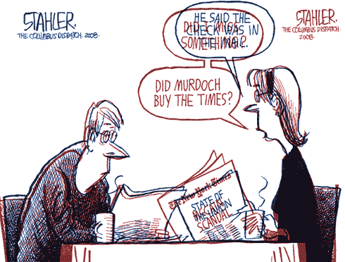 An overlay of two cartoons by political cartoonist Jeff Stahler, both showing a husband and wife reading the newspaper at breakfast. What the overlay reveals is that the two cartoons are almost identical; the wife, in particular, appears to have been traced the second time.