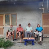 Relaxing with Craig, Brian and Kat after their long day in the air (Bir, India)
