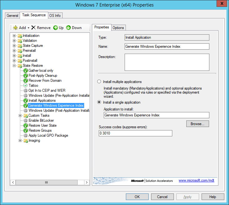 Install Application Added to Task Sequence
