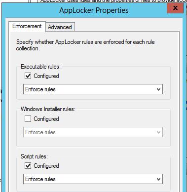 Configuring AppLocker Enforcement Properties