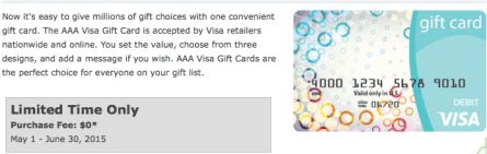 Fee Free VISA Gift Cards at AAA Mid-Atlantic