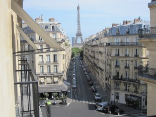 View of the Eiffel Tower from our room at the Radisson Blu Metropolitan